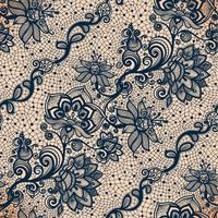 Modèle sans couture de ruban de dentelle abstraite avec des fleurs d'éléments. vecteur
