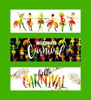 Carnaval. Bannières festives lumineuses tendance style abstrait. vecteur