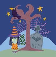 joyeux halloween, costume de sorcière pierre tombale chauve-souris corbeau ciel nocturne tour ou friandise célébration de la fête vecteur