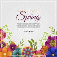 Fond de vecteur de fleur de printemps bienvenu plat