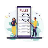 personnes étudiant la liste des règles, faisant une liste de contrôle, lisant des conseils. illustration vectorielle. style plat vecteur