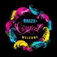Carnaval. lettrage avec cadre en plumes. vecteur