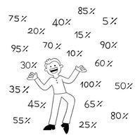 homme de dessin animé très heureux car il y a beaucoup d'illustrations vectorielles à prix réduit vecteur