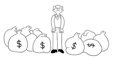 dessin animé vieil homme a beaucoup d'argent mais il est malheureux illustration vectorielle vecteur