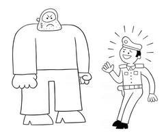 homme de police de dessin animé peur de l'illustration vectorielle de grand homme vecteur