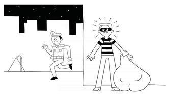 l'homme de voleur de dessin animé se cache derrière le mur la police le cherche illustration vectorielle vecteur