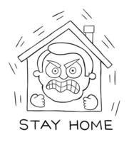 l'homme de dessin animé reste à la maison pendant la pandémie mais maintenant il est très en colère et ne peut pas le supporter illustration vectorielle vecteur