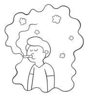 l'homme de dessin animé fume et est pris dans sa propre illustration vectorielle de fumée de cigarette vecteur