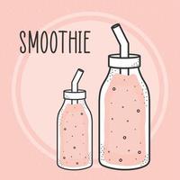 bouteilles de smoothies roses vecteur