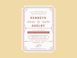 Vecteur de carte d'invitation de mariage unique