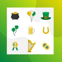 Collection de Clipart vectoriel plat moderne St Patrick
