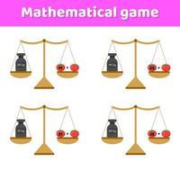 illustration vectorielle. jeu de mathématiques pour les enfants d'âge scolaire et préscolaire. balances et poids. une addition. légumes tomates. vecteur