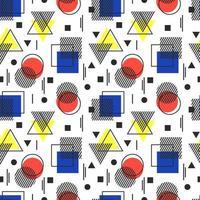 illustration vectorielle. motif géométrique abstrait sans soudure. mouvement bauhaus. triangle, carré, cercle, lignes. noir, blanc, rouge, jaune, bleu. adapté aux affiches et affiches, textiles, vêtements. vecteur