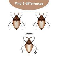illustration vectorielle. jeu de puzzle pour les enfants d'âge préscolaire. trouver 3 différences. avec la réponse. peut coléoptère, hanneton vecteur