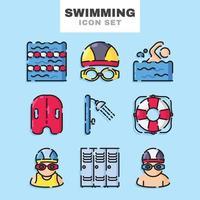 jeu d'icônes de natation vecteur