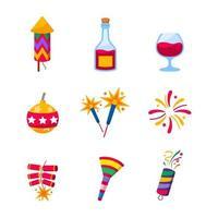 accessoires de fête icônes de célébration vecteur