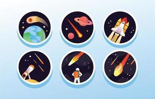 collection d'icônes de météores vecteur