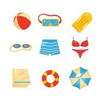 collection de natation d'été vecteur