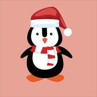 vecteur de conception de personnage de noël avec pingouin