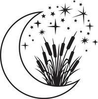 lune et roseaux noir blanc en couches vecteur