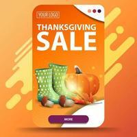 vente d'action de grâces, bannière web à remise verticale orange avec bottes en caoutchouc, citrouille, champignons et feuille d'automne vecteur
