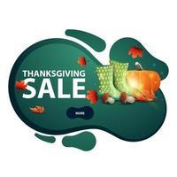 vente d'action de grâces, bannière verte en forme de lampe à lave avec bottes en caoutchouc, citrouille, champignons et feuille d'automne. coupon de réduction isolé sur fond blanc pour vos arts vecteur
