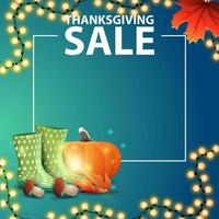 vente de Thanksgiving, modèle bleu avec place pour votre texte, bottes en caoutchouc, citrouille, champignons et feuille d'automne vecteur