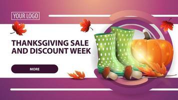 vente de Thanksgiving et semaine de remise, bannière web de remise horizontale rose avec bottes en caoutchouc, citrouille, champignons et feuille d'automne vecteur