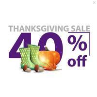 vente de Thanksgiving, jusqu'à 40 de réduction, bannière de remise élégante blanche avec de grands chiffres rouges avec des bottes en caoutchouc, de la citrouille, des champignons et des feuilles d'automne vecteur
