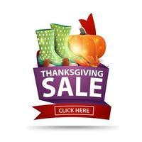 vente de Thanksgiving, bannière web isolée avec ruban, bottes en caoutchouc, citrouille, champignons et feuille d'automne. coupon de réduction isolé sur fond blanc pour vos arts vecteur