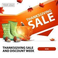 vente de Thanksgiving, bannière web carrée moderne et élégante pour la publicité et la promotion de votre entreprise avec des bottes en caoutchouc, de la citrouille, des champignons et des feuilles d'automne vecteur