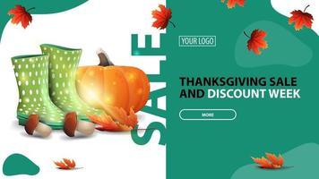 vente de Thanksgiving et semaine de remise, bannière de remise horizontale verte pour votre site Web avec un design moderne, bottes en caoutchouc, citrouille, champignons et feuille d'automne vecteur