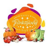 joyeux thanksgiving, bannière de voeux créative avec un design liquide moderne. carte postale avec bottes en caoutchouc et récolte d'automne vecteur