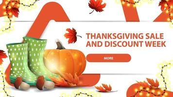 vente de Thanksgiving et semaine de remise, bannière web de remise horizontale blanche avec design triangulaire créatif, bottes en caoutchouc, citrouille, champignons et feuille d'automne vecteur