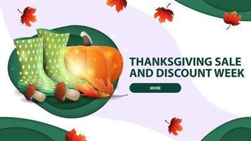 semaine de vente et de remise de Thanksgiving, bannière web blanche en papier découpé avec des bottes en caoutchouc, citrouille, champignons et feuille d'automne vecteur