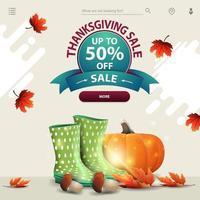 vente de Thanksgiving, modèle pour votre site Web dans un style léger et minimaliste avec des bottes en caoutchouc, de la citrouille, des champignons et des feuilles d'automne vecteur