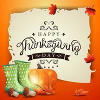 joyeux jour de Thanksgiving, bannière de voeux créative avec un vieux parchemin avec un beau logo vecteur