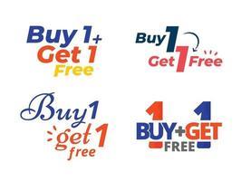 achetez-en 1 obtenez 1 badge promotionnel et collection d'étiquettes. illustration vectorielle vecteur