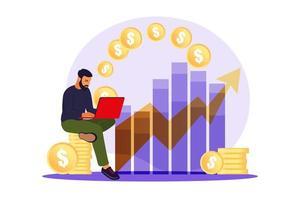 homme investisseur avec ordinateur portable surveillant la croissance des dividendes. commerçant investissant du capital, analysant les graphiques de profit. illustration vectorielle à plat. vecteur