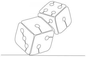 ligne continue d'illustration vectorielle de deux dés vecteur