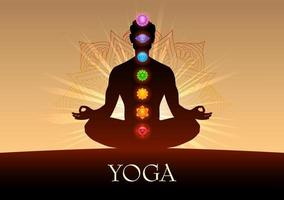 illustration d'un homme faisant des asanas pour la journée internationale du yoga le 21 juin avec le chakra tantra sapta signifiant sept roues de méditation vecteur