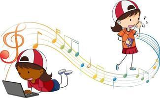 personnage de dessin animé de griffonnage de filles écoutant de la musique avec des symboles de mélodie musicale vecteur
