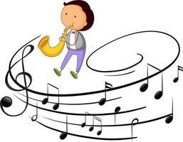 personnage de dessin animé doodle d'un homme jouant du saxophone avec des symboles de mélodie musicale vecteur