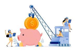 conception vectorielle de l'amélioration de l'infrastructure financière dans la gestion des fonds des clients les gens essaient d'économiser de l'argent l'illustration peut être pour les sites Web affiches bannières applications mobiles web publicités sur les réseaux sociaux vecteur