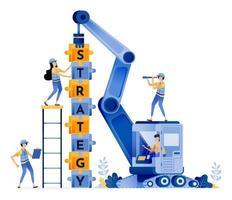 la conception vectorielle du travail d'équipe de construction avec des stratégies résolvant des énigmes pour la construction de coopération et l'illustration d'équipement lourd peut être pour les sites Web affiches bannières applications mobiles web médias sociaux vecteur