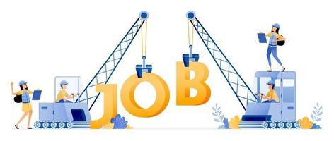 conception vectorielle d'offres d'emploi pour le secteur de la construction et de l'immobilier pelle transportant des mots qui lisent l'illustration de l'emploi peut être pour des sites Web affiches bannières applications mobiles web annonces sur les réseaux sociaux vecteur