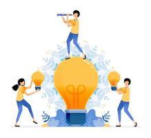 conception vectorielle de trouver et d'explorer des idées homme debout sur une ampoule personnes tenant une ampoule une illustration de pensée éclairée peut être pour les sites Web affiches bannières applications mobiles web médias sociaux vecteur