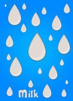 Goutte de lait réaliste, éclaboussures, liquide isolé sur fond bleu. illustration vectorielle