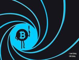 Bitcoin monnaie crypto dans le cercle de l'illustration vectorielle de baril rayé. agent secret, détective, espion peu personnage de monnaie avec une illustration de style pistolet à plat vecteur