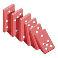 cartoon vector illustration objet isolé jouet s'effondrer dominos
